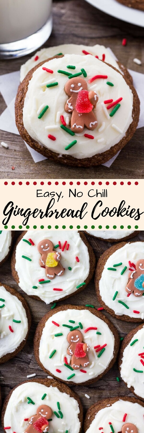 These easy gingerbread cookies are soft, chewy & perfect for the holidays. It's a no chill recipe - so they take way less time to make than regular gingerbread cookies. Then they're topped with fluffy cream cheese frosting. #gingerbreadcookies #holidaycookies #christmascookies #gingermolassescookies