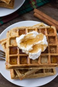These fluffy eggnog waffles are the perfect breakfast for the holidays. They have soft centers, golden edges and a delicious hint of nutmeg.