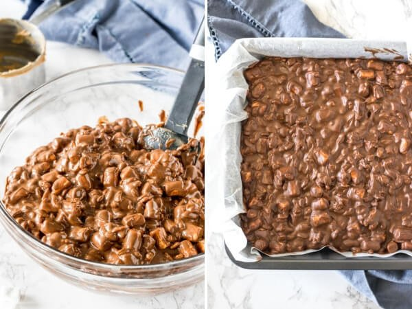 2 step by step photos showing how to make rocky road bars.