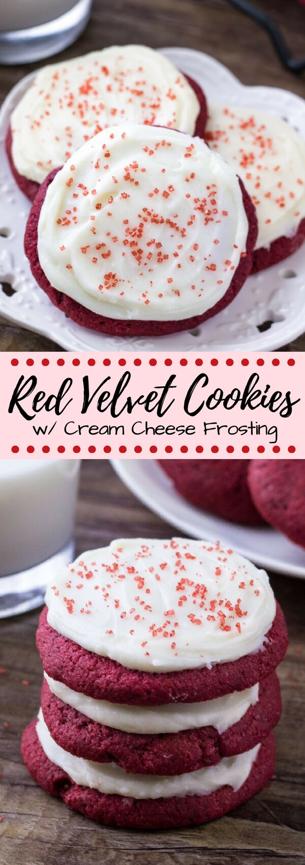 If you love Lofthouse cookies - then you definitely need to try these Red Velvet Cookies with Cream Cheese Frosting. They're pillowy soft with a delicate crumb, delicious red velvet flavor, and cream cheese frosting. #redvelvet #redvelvetcookies #lofthousecookies