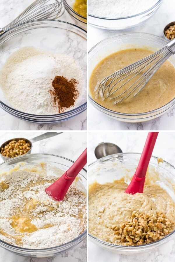 Step by step photos showing how to make banana bread muffins.