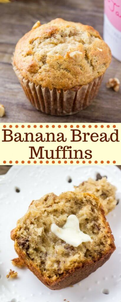 Banana bread muffins are moist, fluffy and filled with big banana flavor. It's an easy, no mixer recipe that makes perfect banana muffins every time.