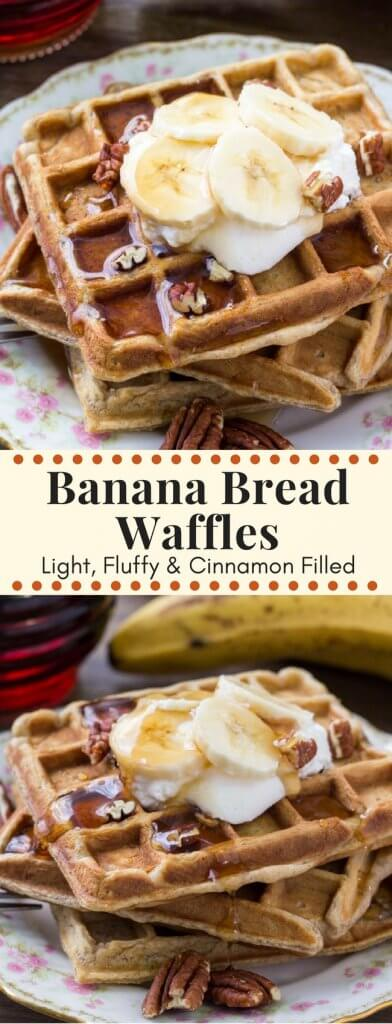 Banana bread waffles are fluffy and soft with big banana bread flavor. They have a hint of cinnamon and brown sugar, and taste delicious drenched in maple syrup.