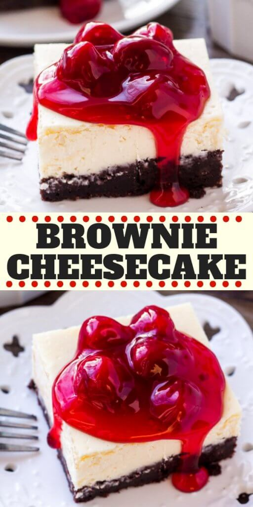 These brownie cheesecake bars are the best of both worlds. The base is a chocolate brownie - either made form scratch or you can use a box mix. Then there's a layer of smooth, creamy cheesecake. The perfect decadent dessert! #browniecheesecake #brownies #cheesecake #dessert #chocolate