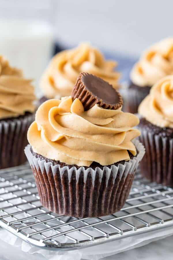 Chocolate Cupcakes With Peanut Butter Frosting Just So Tasty