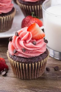 Chocolate cupcakes with strawberry frosting -perfect for Valentine's Day