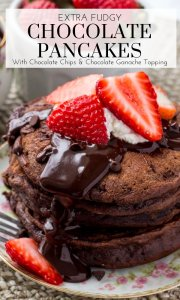 These chocolate pancakes are the perfect breakfast or dessert for true chocolate lovers. They're soft, fluffy, and made with cocoa powder and chocolate chips for a double dose of chocolate. #breakfast #pancakes #chocolate #recipes #chocolatepancakes #valentinesday #pancakes