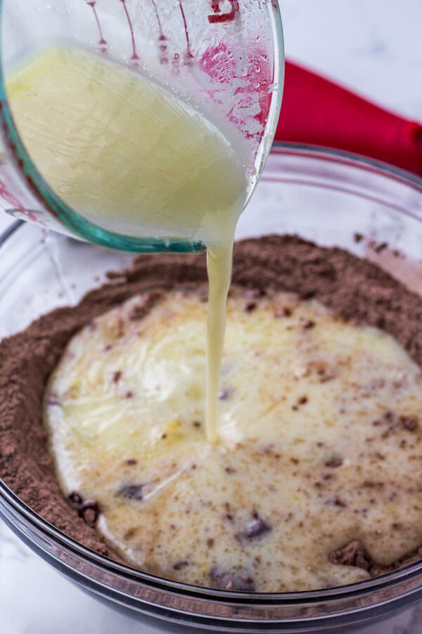 When making chocolate pancakes, gently fold the wet ingredients into the dry ingredients
