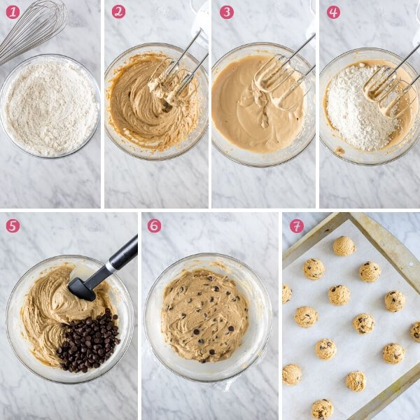 Collage of photos showing how to make cream cheese chocolate chip cookies.