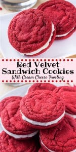 hese soft and chewy red velvet sandwich cookies are made completely from scratch. You'll love the vibrant red color, hint of coco and cream cheese frosting #redvelvet #homemadeoreos #valentines #cookies