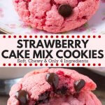 These strawberry cookies are soft, chewy, a little gooey and filled with chocolate chips. Perfect for Valentine's Day - you'll love these strawberry cake mix cookies! #strawberry #cookies #valentines #recipes #cakemix