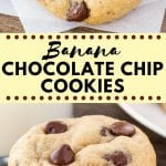 Banana chocolate chip cookies are thick, pillowy soft and a little gooey. They have a delicious hint of banana bread, lots of chocolate chips, and it's an easy recipe you can whip up in no time. #bananas #cookies #chocolatechipcookies #recipes