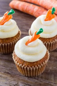 Moist carrot cake cupcakes topped with cream cheese frosting