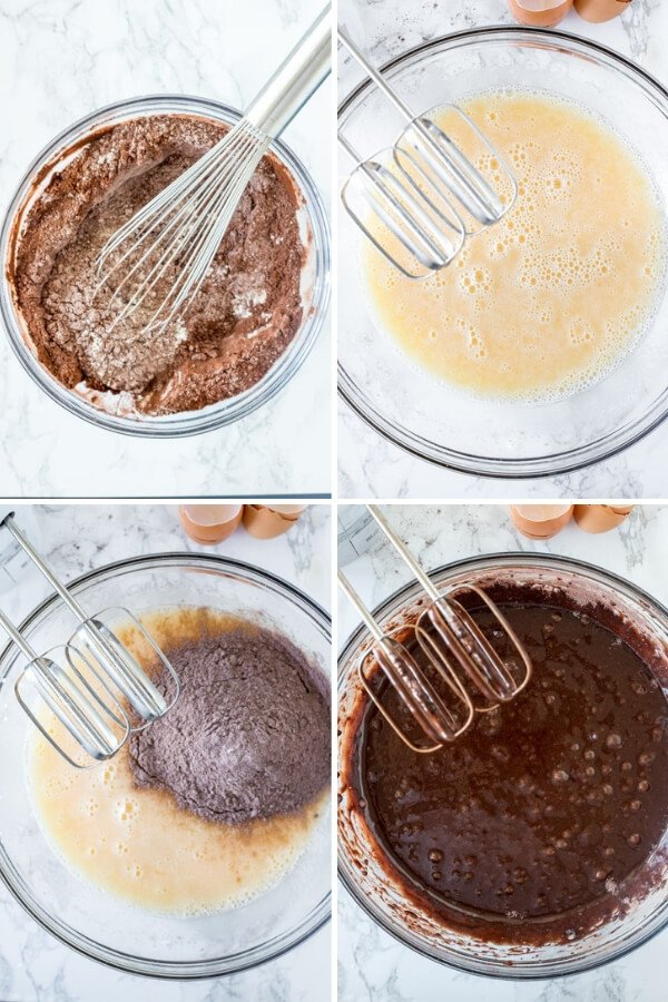 Step by step photos showing how to make chocolate sheet cake.
