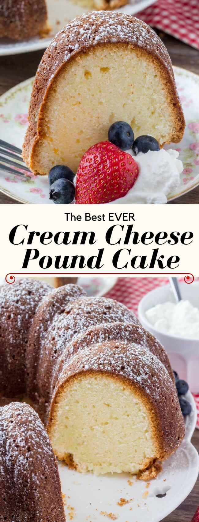 Cream cheese pound cake is rich, buttery, moist and completely delicious. With only 6 ingredients, it's an easy pound cake recipe that never disappoints. #poundcake #cake #baking #recipes