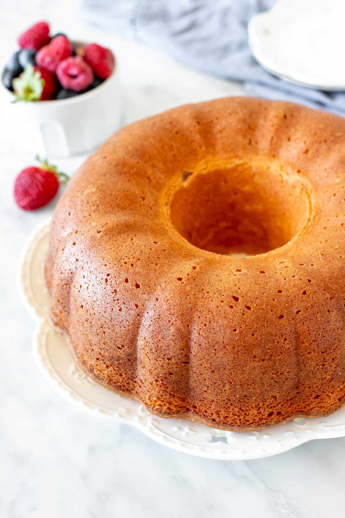 Cream cheese pound cake with a golden crust.
