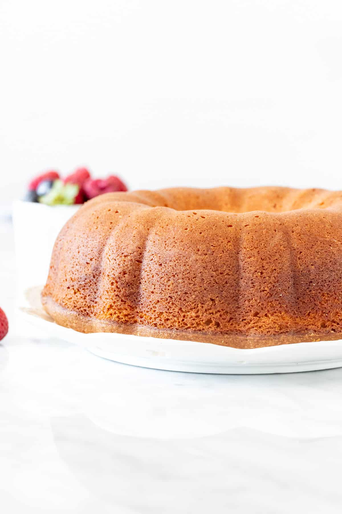 Cream cheese pound cake made in a bundt pan.