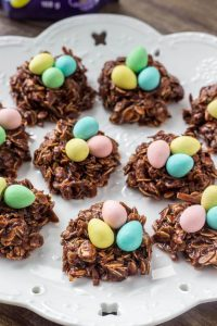 Easter Nest Cookies - easy no bake treats made with mini eggs.