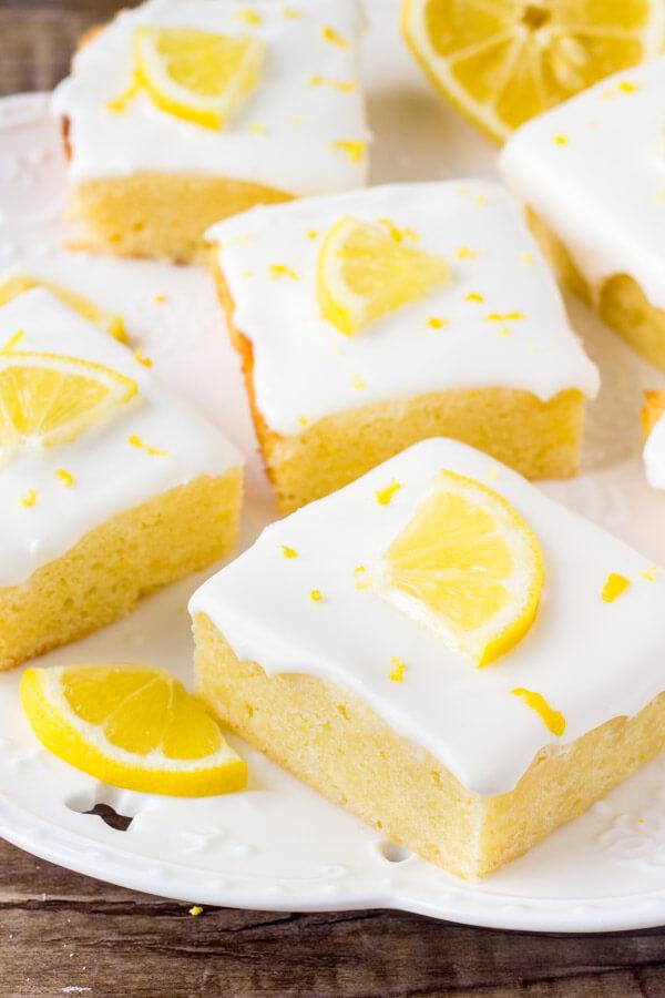 Lemon brownies - fudgy lemon bars with cream cheese icing.