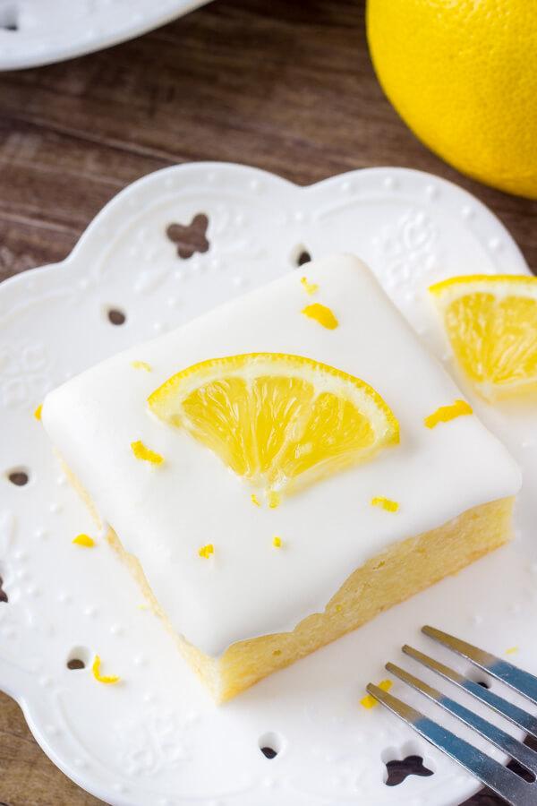 Fudgy lemon bars with cream cheese glaze
