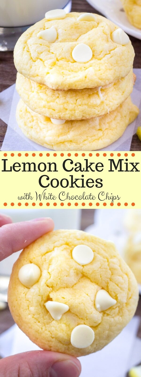 Love lemon? Then try these easy lemon cake mix cookies. They're extra soft with a delicious hint of lemon and white chocolate chips. #lemon #lemoncookies #cookies #cakemixcookies #cakemix #recipes