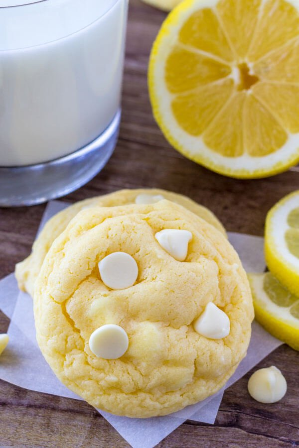 Lemon cake mix cookies are extra soft with a hint of lemon and filled with white chocolate chips.