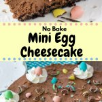 This no bake mini egg chocolate cheesecake is completely decadent, completely adorable and perfect for Easter. Crunchy Oreo cookie crust, creamy silky smooth chocolate cheesecake, and loaded with mini eggs - it's the one thing you NEED to make this Easter. #minieggs #nobake #chocolatecheesecake #easter #Easterbaking #recipes #chocolateeggs #nobakecheesecake