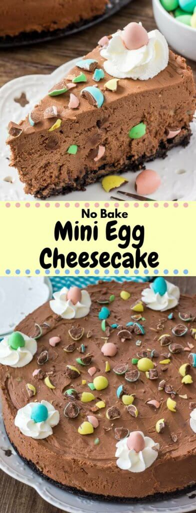 This no bake mini egg chocolate cheesecake is completely decadent, completely adorable and perfect for Easter. Crunchy Oreo cookie crust, creamy silky smooth chocolate cheesecake, and loaded with mini eggs - it's the one thing you NEED to make this Easter.#minieggs #nobake #chocolatecheesecake #easter #Easterbaking #recipes #chocolateeggs #nobakecheesecake