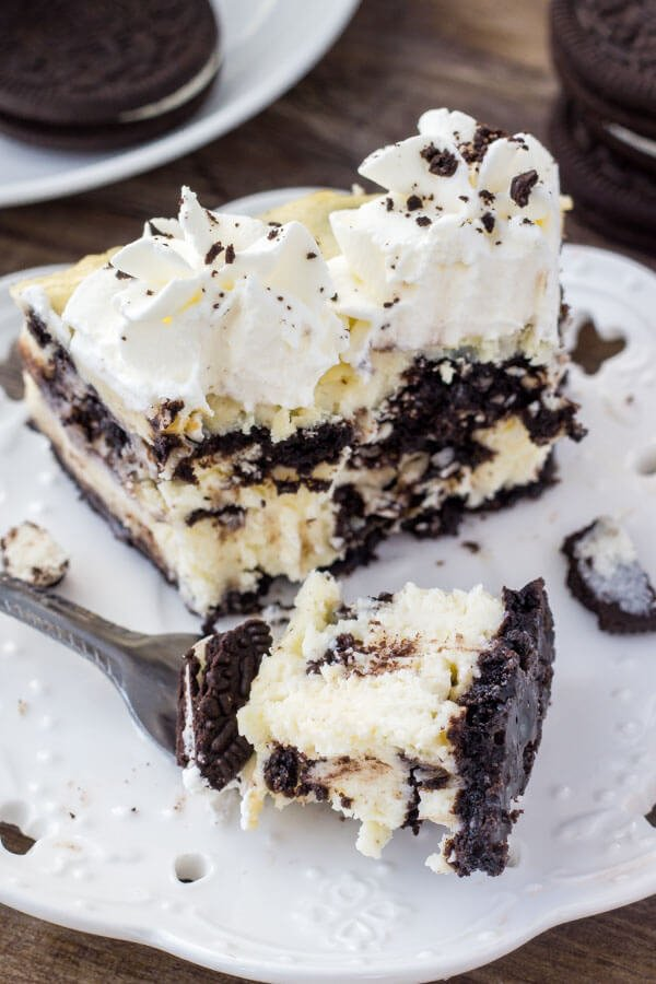 This baked Oreo cheesecake is smooth, creamy, and completely decadent.