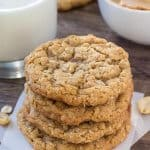 Peanut butter oatmeal cookies are soft and chewy with big peanut butter flavor and lots of texture.