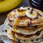 Extra fluffy banana chocolate chip pancakes - like banana bread in pancake form!
