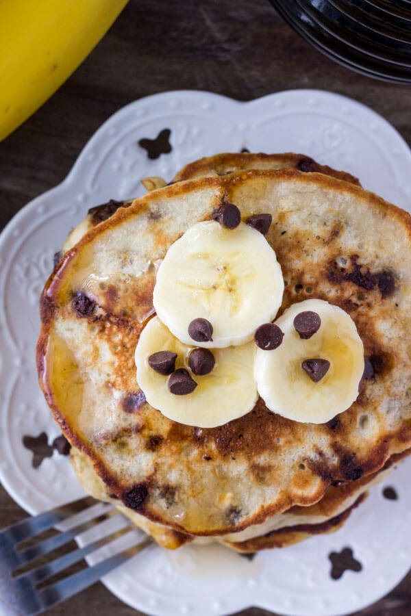 Chocolate Chip Banana Pancakes - extra fluffy with golden edges