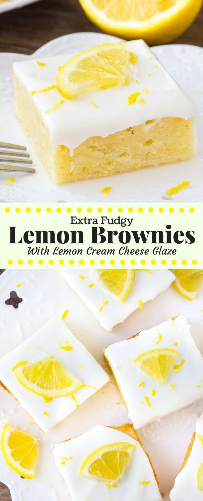 Lemon brownies are insanely delicious fudgy lemon bars with a sweet lemon cream cheese glaze. They're sometimes called lemonies or lemon blondies - but either way they mean delicious. #lemon #lemonies #blondies #brownies #lemonbars #lemonbrownies #recipes