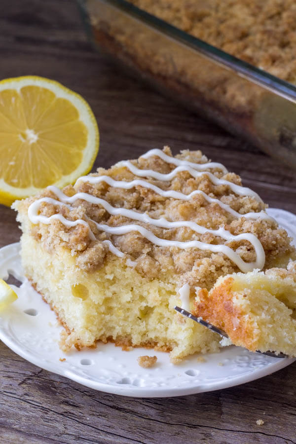 Lemon coffee cake with crumb topping and lemon glaze.