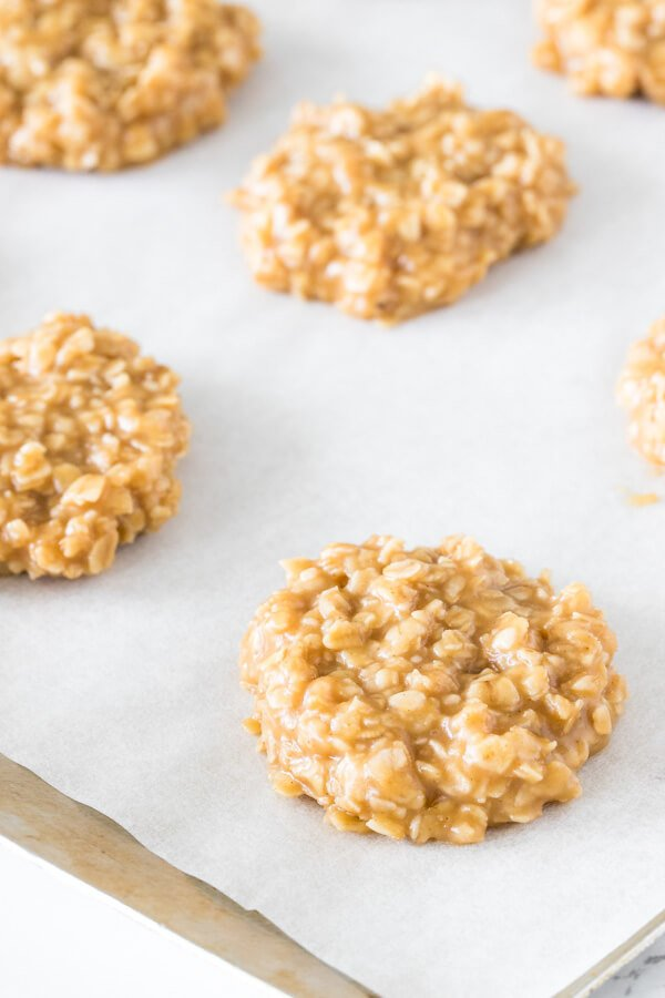 Easy no bake peanut butter cookies hardening on the cookie sheet.