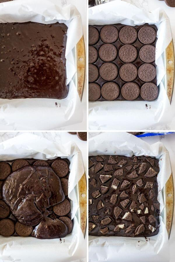 4 step by step photos showing how to assemble Oreo brownies.