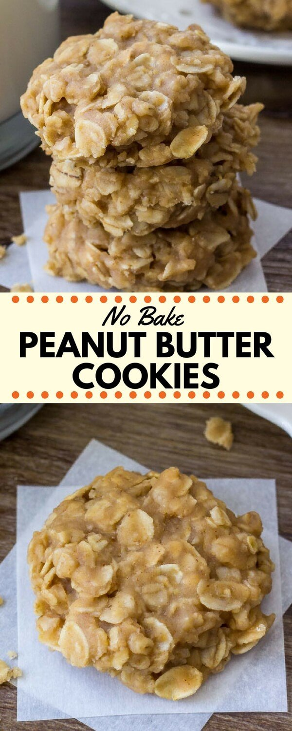 Peanut butter no bake cookies are filled with peanut butter and oatmeal for the perfect salty, sweet snack. They're insanely easy to make, only 6 ingredients, and completely addictive. #peanutbutter #cookies #nobake #oatmeal #recipes #nobakecookies