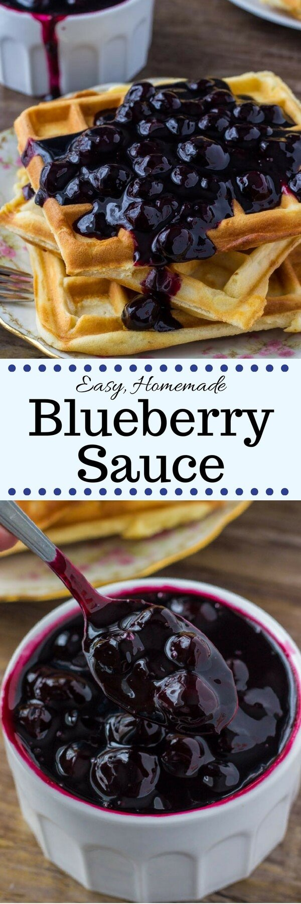 Homemade blueberry sauce is not too sweet and bursting with berries. Make it with fresh or frozen berries - then top in on pancakes, cheesecake, waffles or ice cream! #icecreamtopping #blueberrysauce #blueberries #pancakes #waffles #icecream