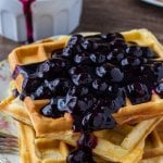 Homemade blueberry sauce is not too sweet and bursting with berries. Make it with fresh or frozen berries - then top in on pancakes, cheesecake, waffles or ice cream!