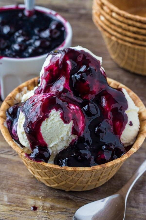 Easy blueberry sauce for pancakes, waffles, cheesecake or ice cream