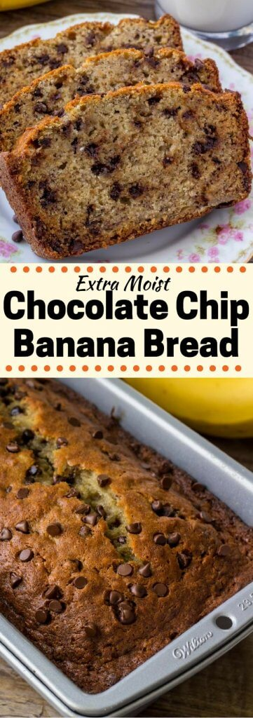 This Chocolate Chip Banana Bread is the best banana bread recipe around. It's moist, super flavorful, has a perfectly domed top, and filled with chocolate chips.#bananabread #bananachocolatechip #bananas #recipes #quickbreads