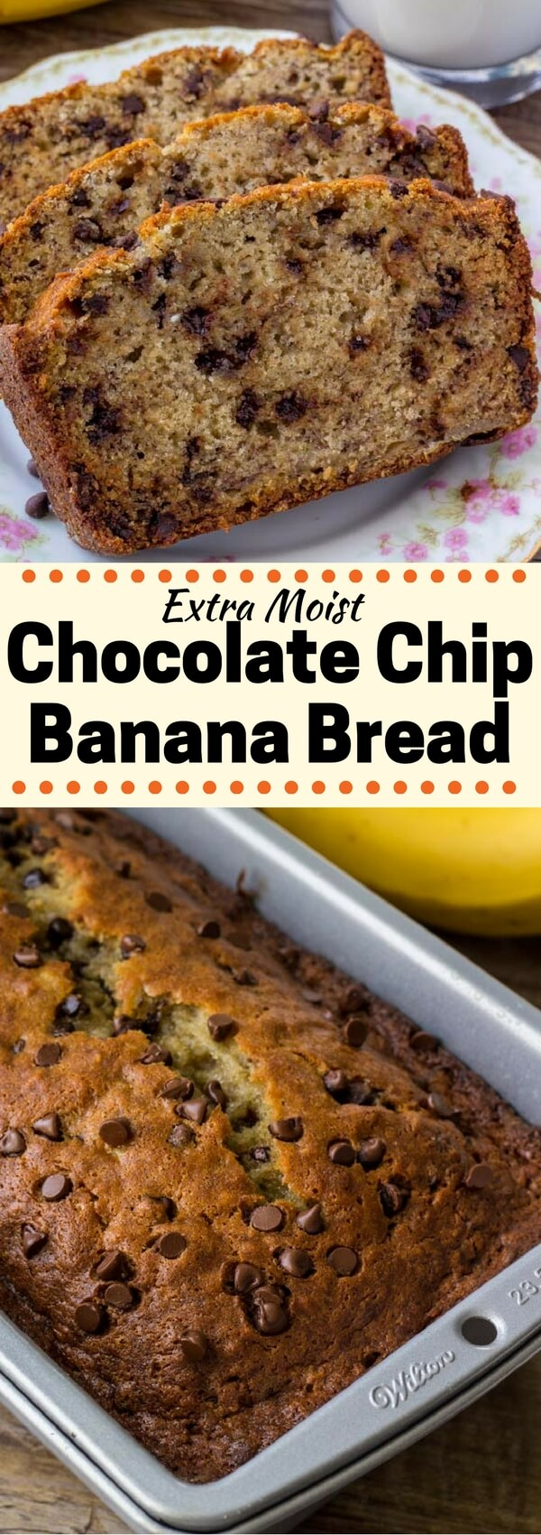 This Chocolate Chip Banana Bread is the best banana bread recipe around. It's moist, super flavorful, has a perfectly domed top, and filled with chocolate chips.#bananabread #bananachocolatechip #bananas #recipes #quickbreads #chocolatechipbananabread
