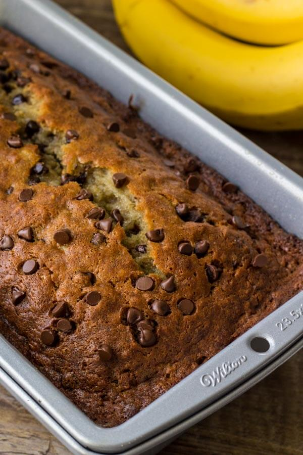 Chocolate Chip Banana Bread - learn the secrets of how to prevent banana bread from sinking