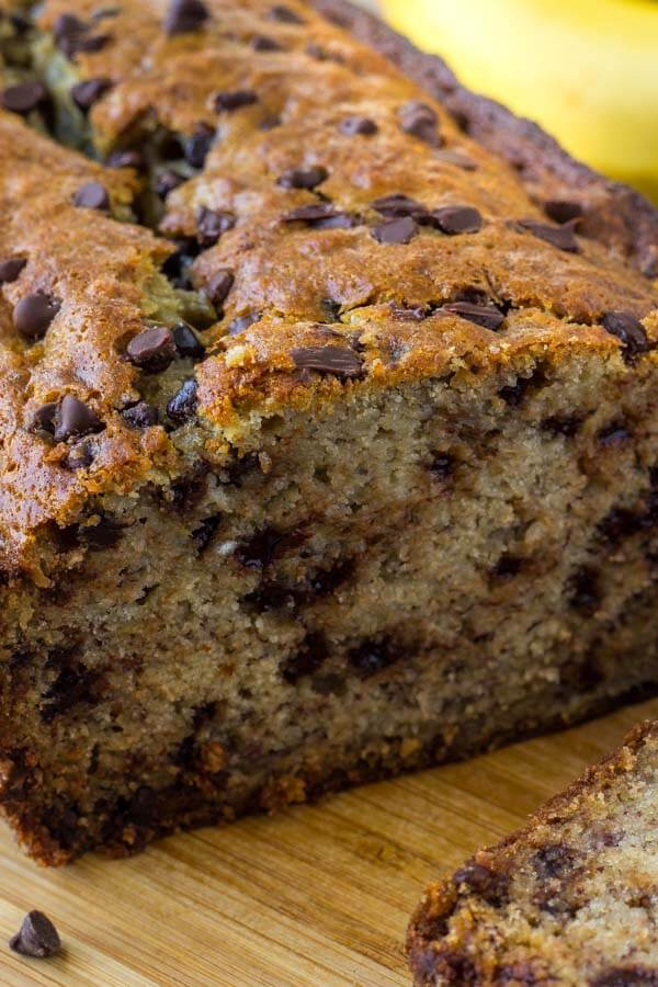 Chocolate chip banana bread is moist, tender, big on banana flavor and filled with chocolate chips.