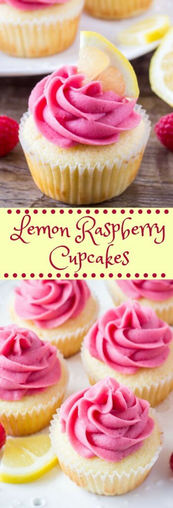 Lemon raspberry cupcakes are fluffy, moist, and bursting with fresh flavors. They start with lemon cupcakes that have a soft texture and hint of lemon. Sweet juicy berries in the raspberry frosting take them over the top. #cupcakes #lemon #raspberry #frosting #lemoncupcakes #recipes #buttercream