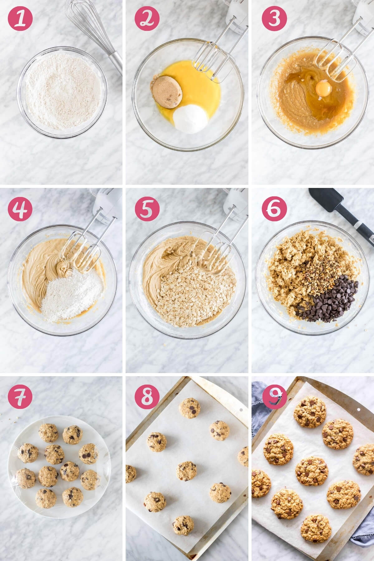 Collage of 9 photos showing how to make oatmeal chocolate chip cookies.