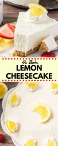 No Bake Lemon Cheesecake is extra creamy, bursting with lemon, and the perfect easy cheesecake recipe. If you love lemon desserts - then this lemon cheesecake is for you #lemoncheesecake #cheesecake #nobakecheesecake #recipes #lemon #desserts #summerdesserts