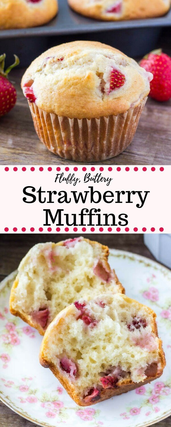 These soft, buttery strawberry muffins have perfectly golden tops and are bursting with strawberries. They can be made with fresh or frozen strawberries and are perfect for breakfast or brunch. #strawberries #muffins #recipes #strawberryseason #breakfast #brunch #strawberrymuffins