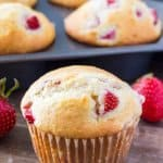 Soft, buttery strawberry muffins have perfectly golden tops and are bursting with strawberries.