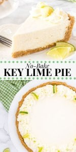 This easy, creamy key lime pie has a velvety smooth texture and delicious citrus flavor. Perfect for summer - everyone will be asking for a second piece! #nobakekeylimepie #nobakepie #keylimepie #nobake #dessert #summer